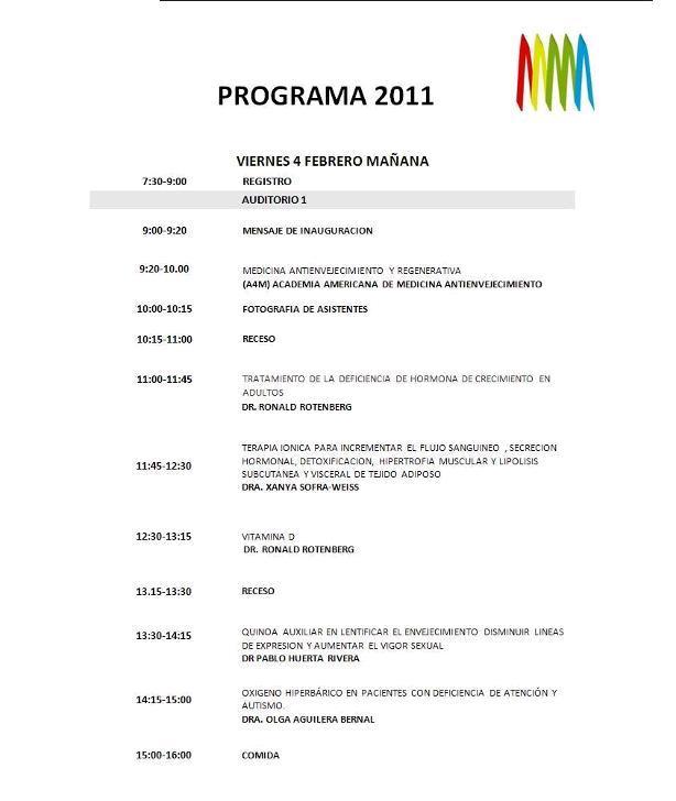 Programa con la lista de ponentes del congreso antienvejecimiento